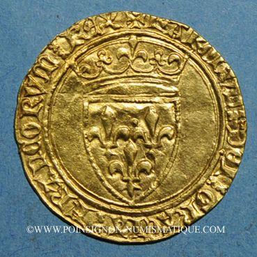 Monnaies Charles VI (1380-1422). Ecu d'or à la couronne. 4e émission. Point 9e. La Rochelle