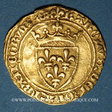 Monnaies Charles VII (1422-1461). 1/2 écu d'or à la couronne, 4e émission (26 mai 1447). Rouen (point 15e)