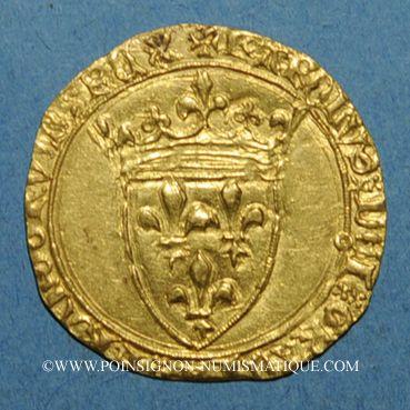 Monnaies Charles VII (1422-1461). Ecu d'or à la couronne. 2e émission. Point 9e. La Rochelle