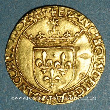 Monnaies François I (1515-1547). Ecu d'or au soleil, 5e type, 3e émission. Lyon (point 12e)