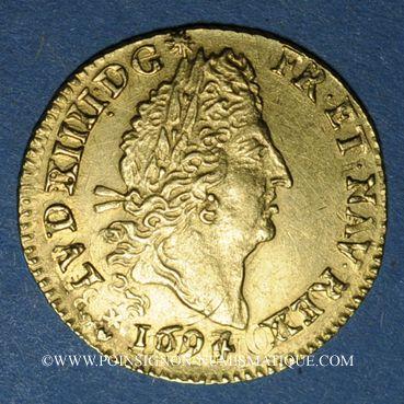 Monnaies Louis XIV (1643-1715). 1/2 louis d'or aux 4L 1694 A. Réformation