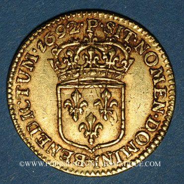 Monnaies Louis XIV (1643-1715). Demi-louis à l'écu 1692 P. Dijon. Réformation