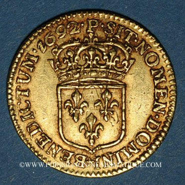 Monnaies Louis XIV (1643-1715). Demi-louis à l'écu 1692P. Dijon. Réformation