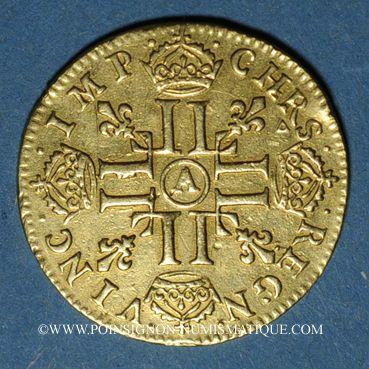 Monnaies Louis XIV (1643-1715). Louis d'or à la mèche longue 1652 A