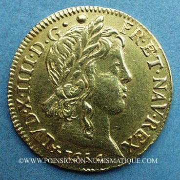 Monnaies Louis XIV (1643-1715). Louis d'or à la mèche longue 1654T. Nantes. 653 ex !