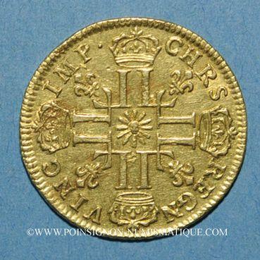 Monnaies Louis XIV (1643-1715). Louis d'or au soleil 1710 L. Bayonne