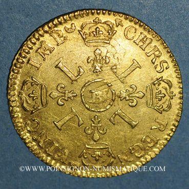 Monnaies Louis XIV (1643-1715). Louis d'or aux 4L 1694BB. Strasbourg. Type avec IVD