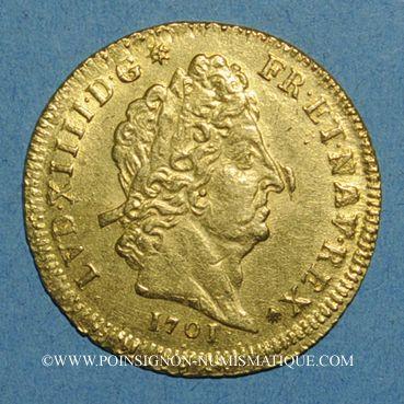 Monnaies Louis XIV (1643-1715). Louis d'or aux 8 L et aux insignes 1701A. Réformation