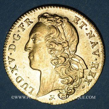 Monnaies Louis XV (1715-1774). Double louis au bandeau 1749 B. Rouen