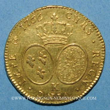 Monnaies Louis XV (1715-1774). Double louis au bandeau 1766 K. Bordeaux