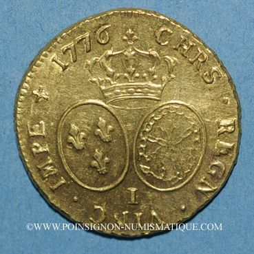 Monnaies Louis XVI (1774-1793). Double louis d'or au buste habillé 1776 I. Limoges