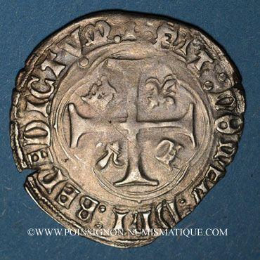 Monnaies François I (1515-1547). Grand blanc à la couronne, 1er type var. Villeneuve-lès-Avignon. Inédit !