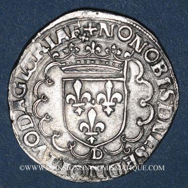 Monnaies François I (1515-1547). Teston, 25e type. Lyon (D et annelet 12e)