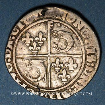 Monnaies François I (1515-1547). Teston du Dauphiné. Type inédit. Crémieu (point 1er)