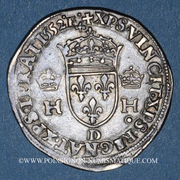 Monnaies Henri II (1547-1559). 1/2 teston, 1er type, 1552D et point 12e. Lyon