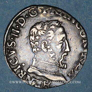 Monnaies Henri II (1547-1559). 1/2 teston, 2e type, 1557M. Toulouse