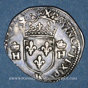 Monnaies Henri II (1547-1559). 1/2 teston, 2e type, 1558K. Bordeaux