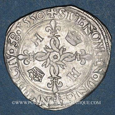 Monnaies Henri II (1547-1559). Douzain aux croissants 1550P et point 13e. Dijon