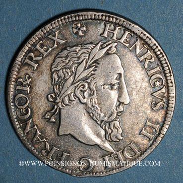 Monnaies Henri II (1547-1559). Teston frappé au moulin de Paris, 2e type, n. d. (1552) A
