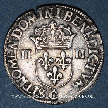 Monnaies Henri III (1574-1589). 1/4 d'écu 1586C et point 19e. Saint-Lô