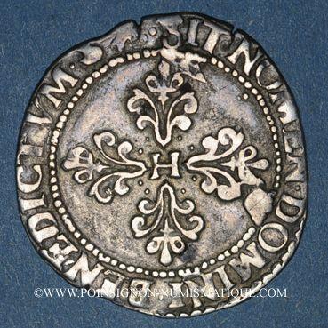 Monnaies Henri III (1574-1589). 1/4 de franc au col plat, 1589 M et point 5e. Toulouse