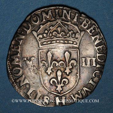 Monnaies Henri III (1574-1589). 1/8 d'écu 1582H. La Rochelle