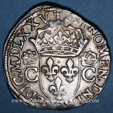 Monnaies Henri III (1574-1589). Monnayage au nom de Charles IX. Teston, 1er type, 1575. Rennes