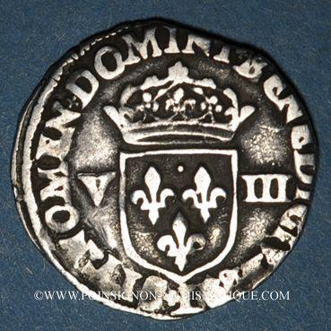 Monnaies Henri IV (1589-1610). 1/8 d'écu, 2e type, 1591L et ancre. Bayonne