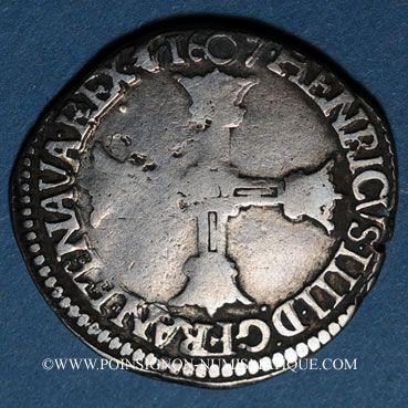 Monnaies Henri IV (1589-1610). 1/8 d'écu, 5e type, 1607 C. Saint Lô