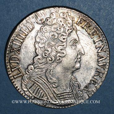 Monnaies Louis XIV (1643-1715). Ecu aux 3 couronnes 1715D. Lyon