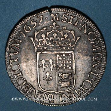 Monnaies Louis XIV (1643-1715). Ecu de Béarn à la mèche longue 1657. Morlaas