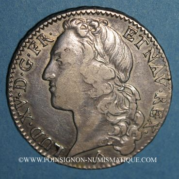 Monnaies Louis XV (1715-1774). 1/2 écu au bandeau 1761 W. Lille