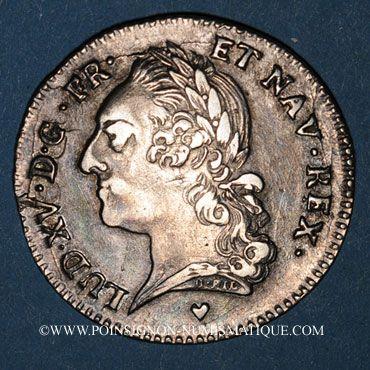 Monnaies Louis XV (1715-1774). 1/5 écu à la vieille tête 1774 BB. Strasbourg