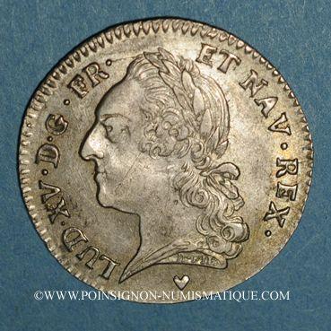 Monnaies Louis XV (1715-1774). 1/5 écu à la vieille tête 1774 BB. Strasbourg.