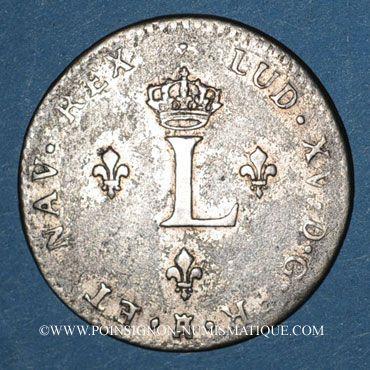Monnaies Louis XV (1715-1774). Double sol en billon 1739V. Troyes