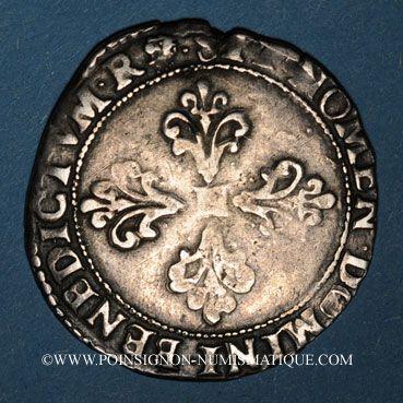 Monnaies Monnayage de la Ligue au nom de Henri III (1589-1596). 1/2 franc 1591M et point 5e. Toulouse