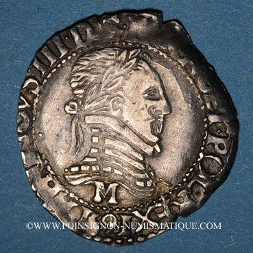 Monnaies Monnayage de la Ligue au nom de Henri III (1589-1596). 1/4 franc au col plat 1591M. Toulouse