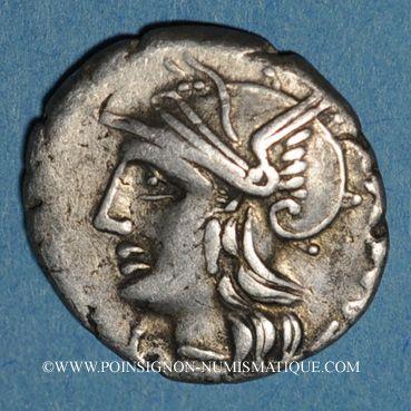 Monnaies République romaine. M. Baebius Q. f. Tampilus (vers 137 av. J-C). Denier