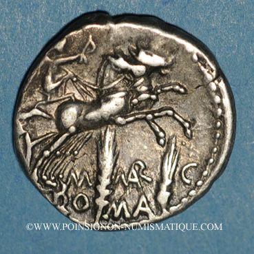 Monnaies République romaine. M. Marcius Mn. f. (vers 134 av. J-C). Denier