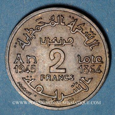 Münzen maroc mohammed v 1346 1380h 2 francs 1945 1364h