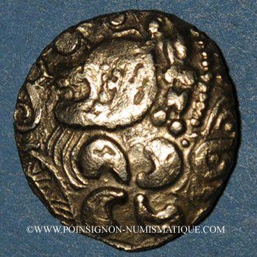 Münzen Aulerques Eburovices. Hémistatère à la joue tatouée, 2e siècle - 1ère moitié du 1er siècle av. J-C