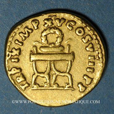 Münzen Titus (79-81). Aureus. Rome, 80. R/: couronne sur une chaise curule