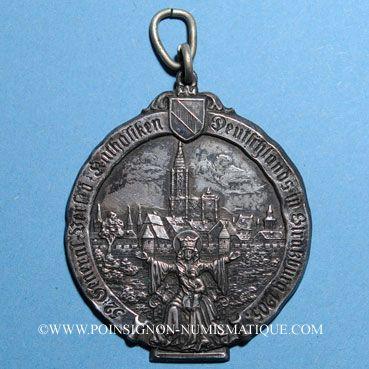 Münzen Strasbourg. Congrès catholique. 1905. Médaille étain argenté. Avec anneau