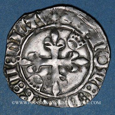 Münzen Charles VI (1380-1422). Gros dit florette, 5e émission (2.7.1419). Troyes (annelet 14e)