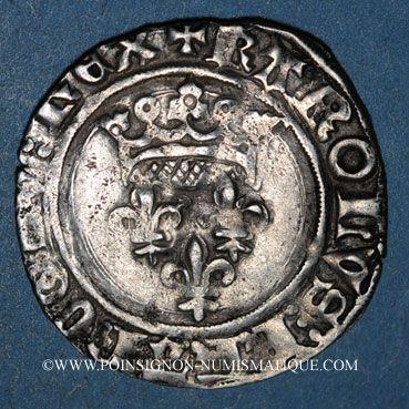 Münzen Charles VI (1380-1422). Monnayage du duc de Bourgogne (1417-1423). Florette. Dijon (point 1er avers)