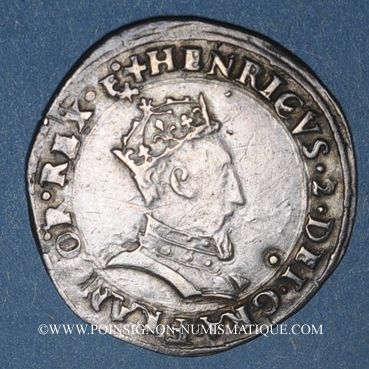 Münzen Henri II (1547-1559). 1/2 teston, 1er type, 1552D et point 12e. Lyon
