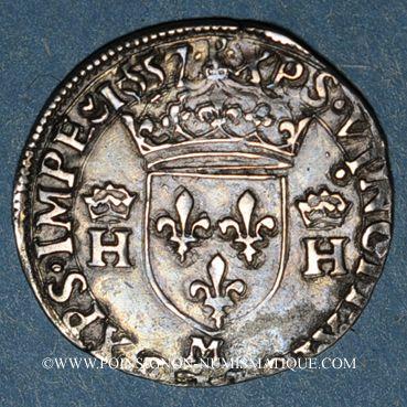 Münzen Henri II (1547-1559). 1/2 teston, 2e type, 1557M. Toulouse