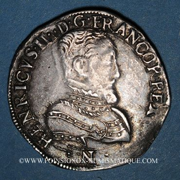 Münzen Henri II (1547-1559). Teston, 2e type, 1558L. Bayonne