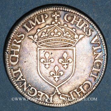 Münzen Henri II (1547-1559). Teston frappé au moulin de Paris, 2e type, n. d. (1552)A