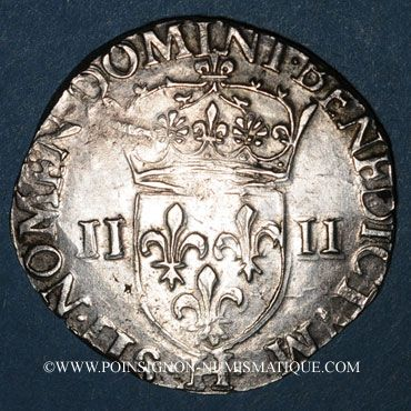 Münzen Henri III (1574-1589). 1/4 d'écu 1582H. La Rochelle. Variante inédite !